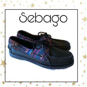 Sebago Spinnaker Black Tribal Boat Shoes 8.5